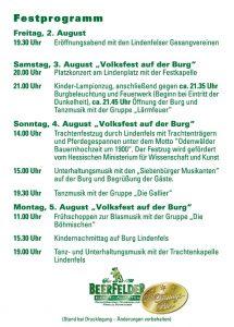 Festprogramm Burgfest 2019